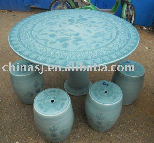 Chinese Celadon Garden Tea Table Set Wryaz324 Jingdezhen