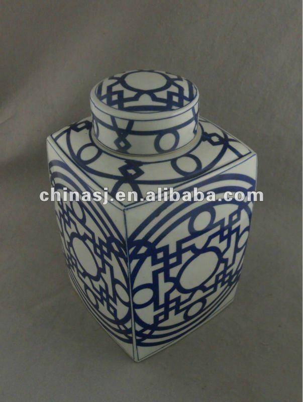 Blue and white porcelain square round jar WRYTM02