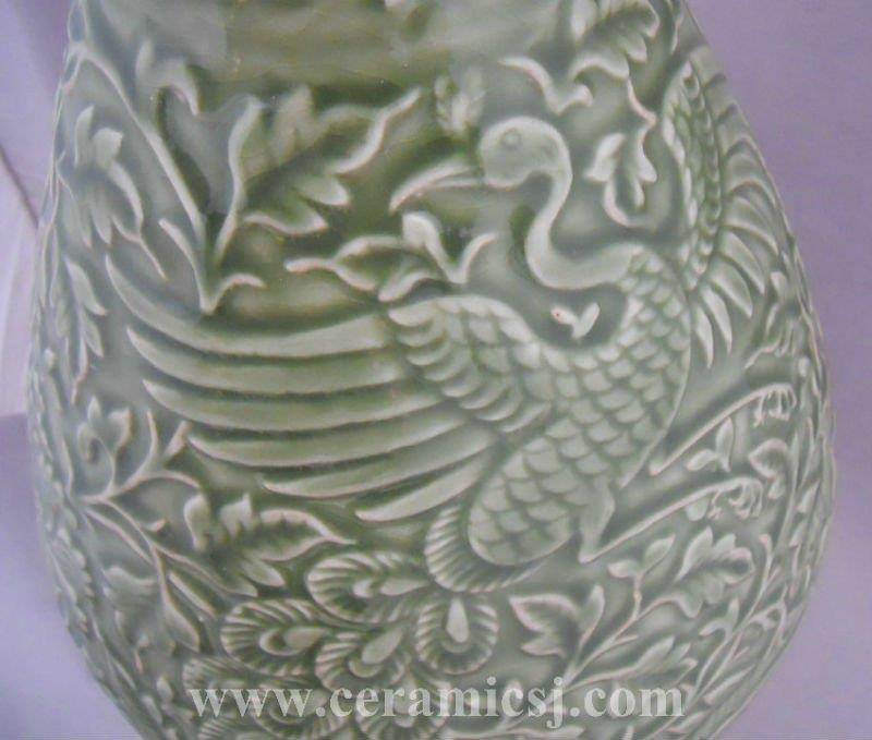 WRYPL06 Ancient Porcelain Vase With Engraved flower bird