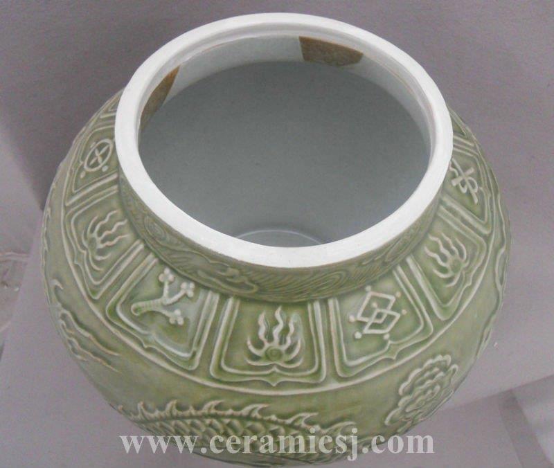 WRYPL03 Jingdezhen engraved dragon Cut-edge Ceramic Jar