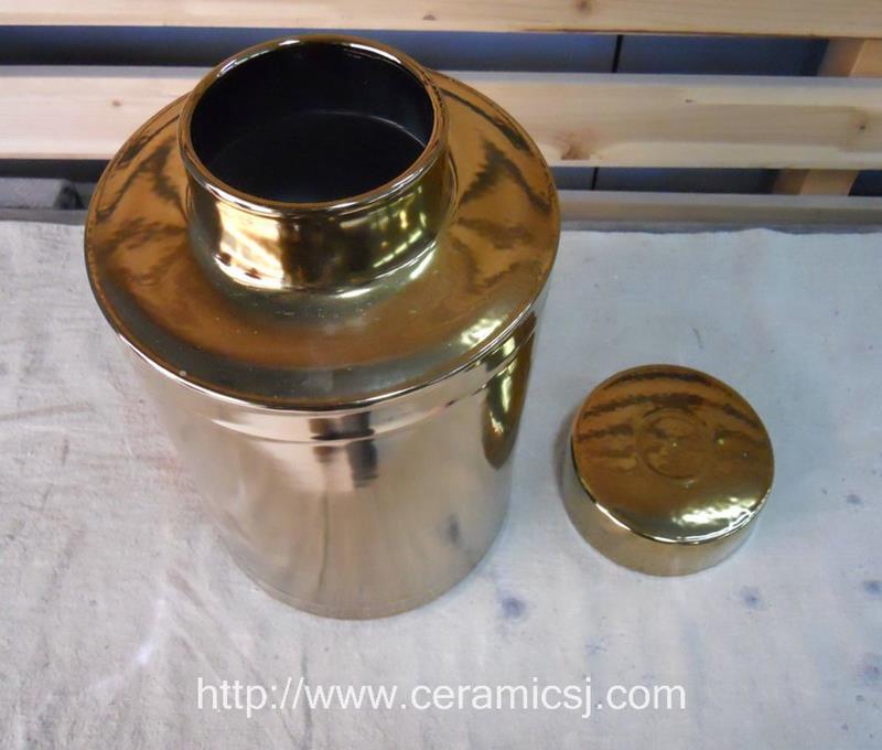 WRYKB34 H30cm golden ceramic cookie jar