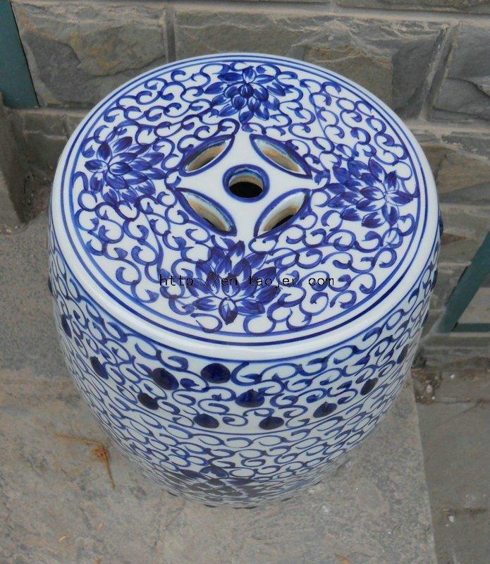 Blue And White Floral Ceramic Garden Stool WRYLY03