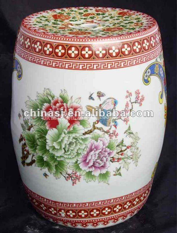 Famille Rose Ceramic Garden Stool with flower design WRYAY208