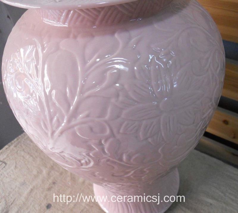 large pink hand engraved floral porcelain ginger jar WRYKB33