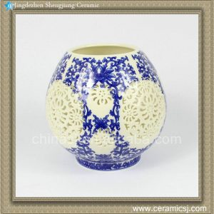 RYXH10 6inch Pierced Blue and White Votive Vase