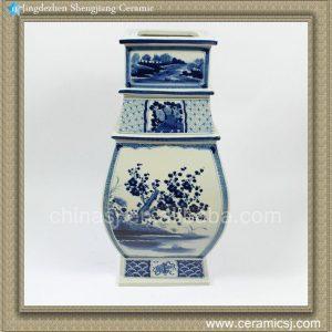 RZAJ04 19.5inch Blue and White Squre Plum blossom Vase