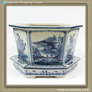 RZAJ06 14inch Blue and White Pot Floral and landscape design