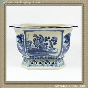 RZAJ08 14inch Blue and White Planter