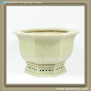 RZAJ10 15inch Light Celadon Hand Carved Planter