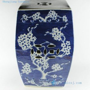 RYSI13 17inch Blue and white hand painted Garden Stool