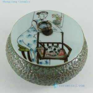RZBL02 6.5 inch Beauty and cat design Hand painted Tea Jar