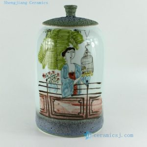 RZBL05 11 inch Hand painted Beauty and bird Porcelain Jar