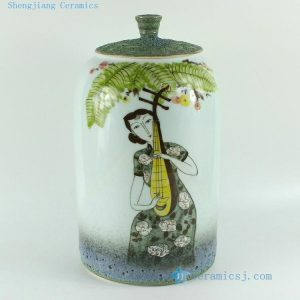 RZBL06 11 inch Hand painted Beauty and music Porcelain Jar