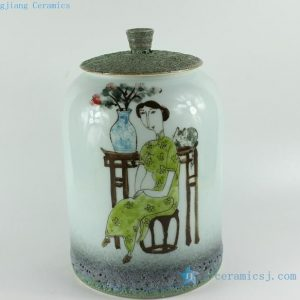 RZBL07 10 inch Hand painted Beauty and music Ceramic Tea Jar