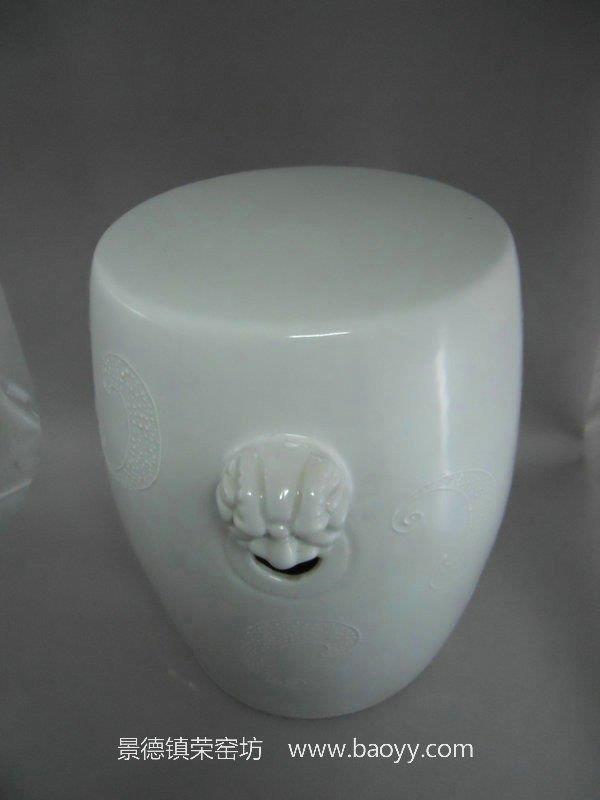 "RYNQ02 18"" White lion engraved ceramic seat stool"