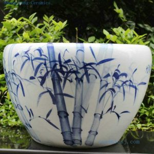 RYYY03 21 inch Hand paint blue and white bamboo ceramic planter