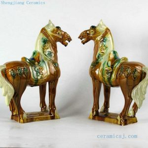 RZBX01 13 inch Chinese Tang tri-color Horses