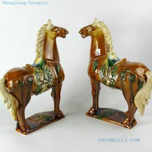 RZBX03 13 inch Brown Chinese Tang tri-color Horses