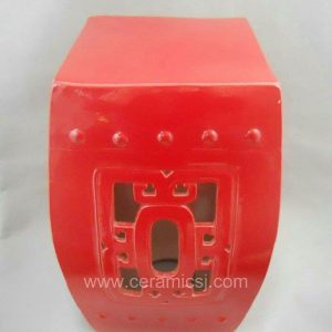 WRYDB29 hand carved Chinese red Ceramic Stool