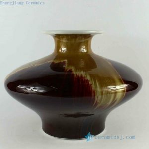 RZCJ23 D12 inch High temperature Yellow Oxblood Transmutation Porcelain Vase