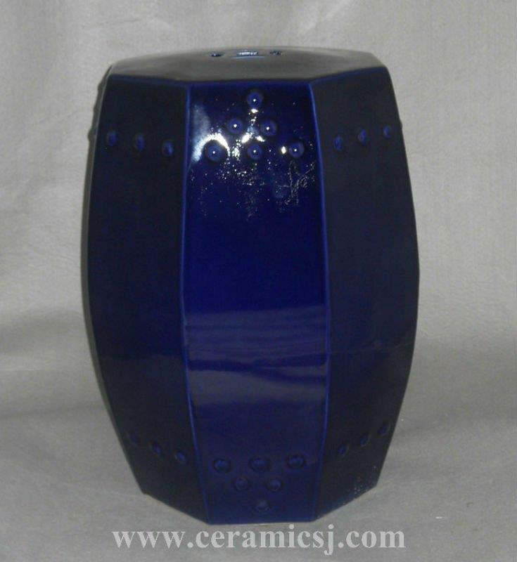 dark Blue Octagon ceramic Outdoor Stool WRYNQ10