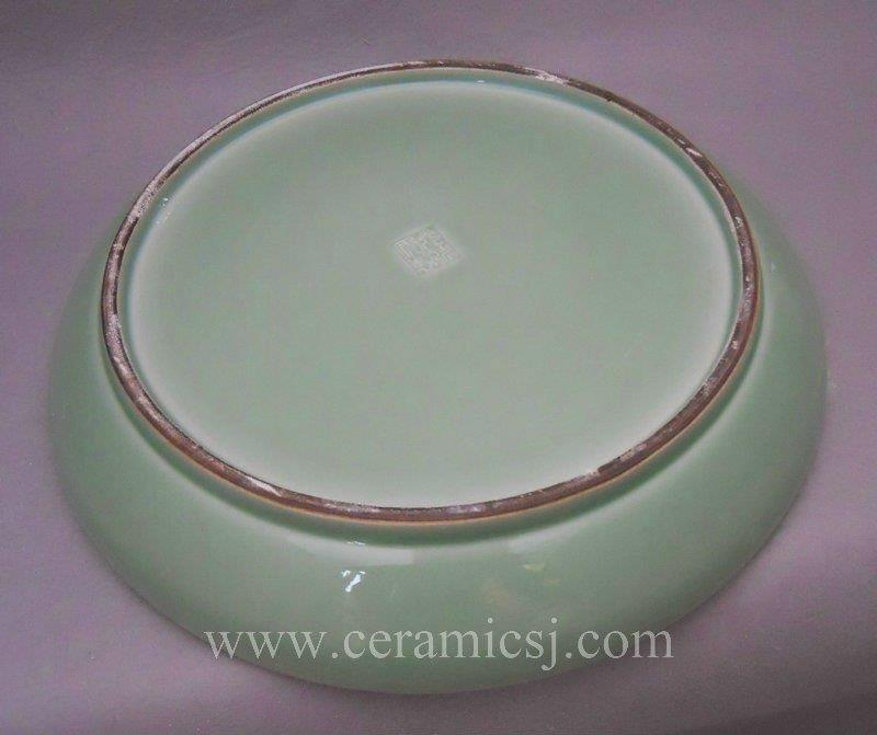WRYMA29 Handmade celadon green porcelain decorative plate