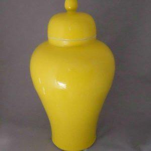 WRYKB83 Bright yellow ceramic storage jar
