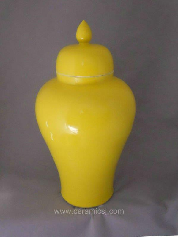 WRYKB83 Bright yellow ceramic storage jar