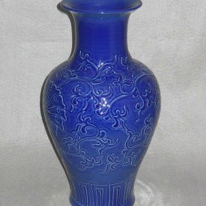 WRYMA25 blue Ceramic Vase with floral design