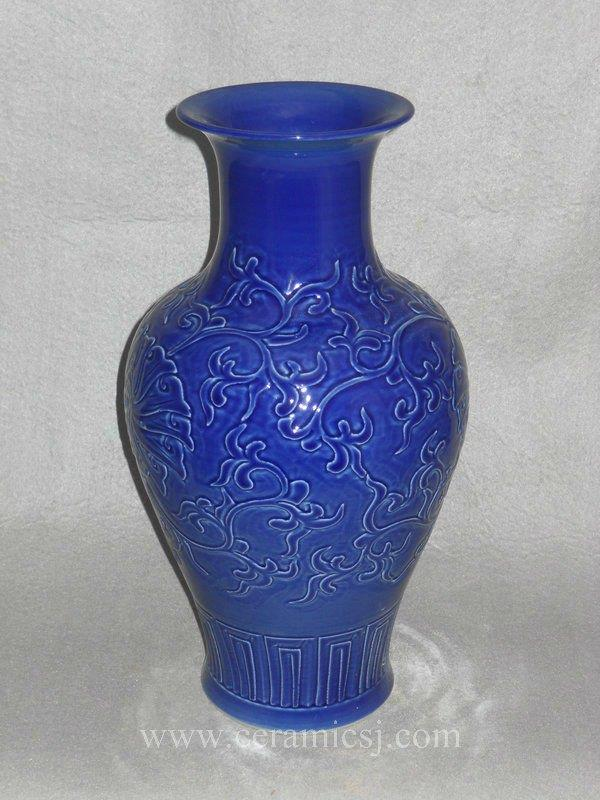 WRYMA25 blue Ceramic Vase with floral design