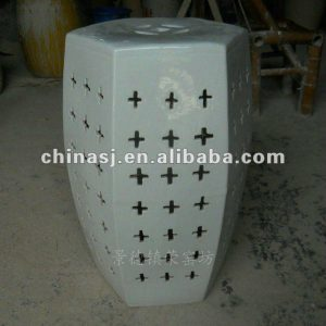 WRYNQ35 19.5inch Hand carved white Ceramic Garden Stool