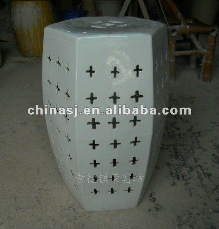 WRYNQ35 19.5inch Hand carved white Ceramic Garden Stool