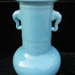 WRYKX02 blue celadon porcelain vase long neck with ears