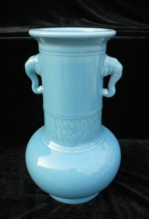 WRYKX02 blue celadon porcelain vase long neck with ears