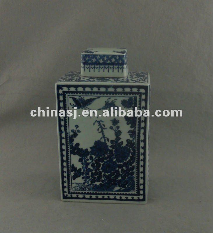 Blue and white floral porcelain square jar WRYTM03