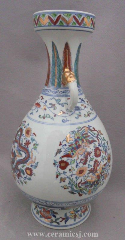 China dragon fung-hwang design gold paint porcelain vase WRYPJ04