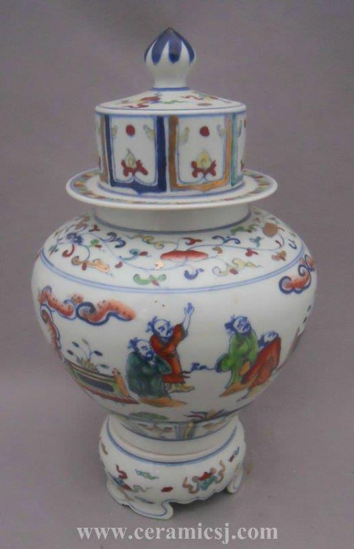 WRYPJ08 Blue white porcelain temple jar