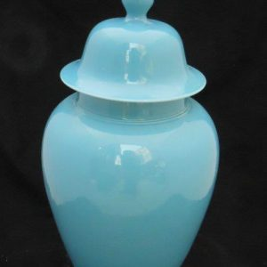 light blue ceramic ginger jar with cover WRYKB06