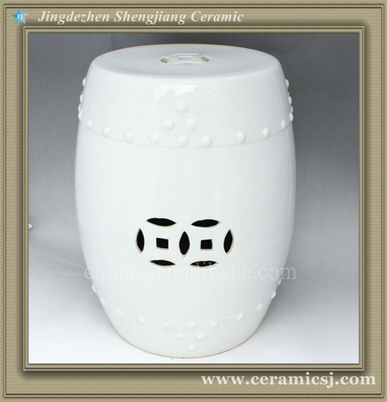 White Ceramic Garden Outdoor Stool WRYCN52