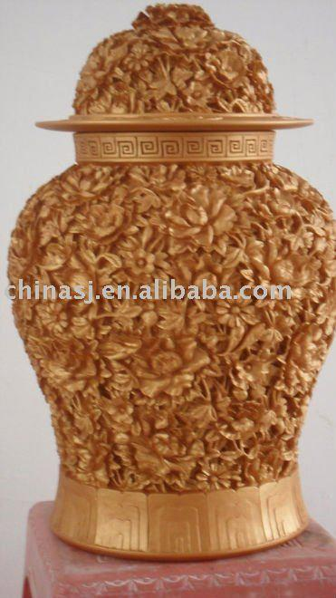 high quality hand engraved gold porcelain Chinese ginger jar WRYNG01