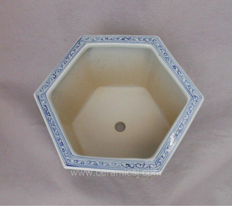 Blue and white hexagon Flower Pot WRYSZ04