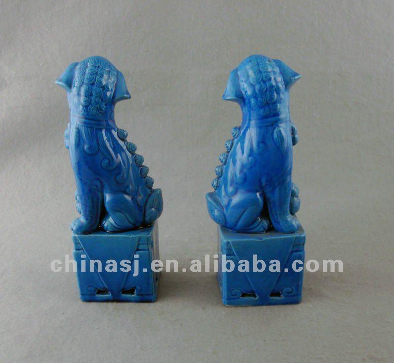 Blue Porcelain Foo Dog Figurine WRYJZ05