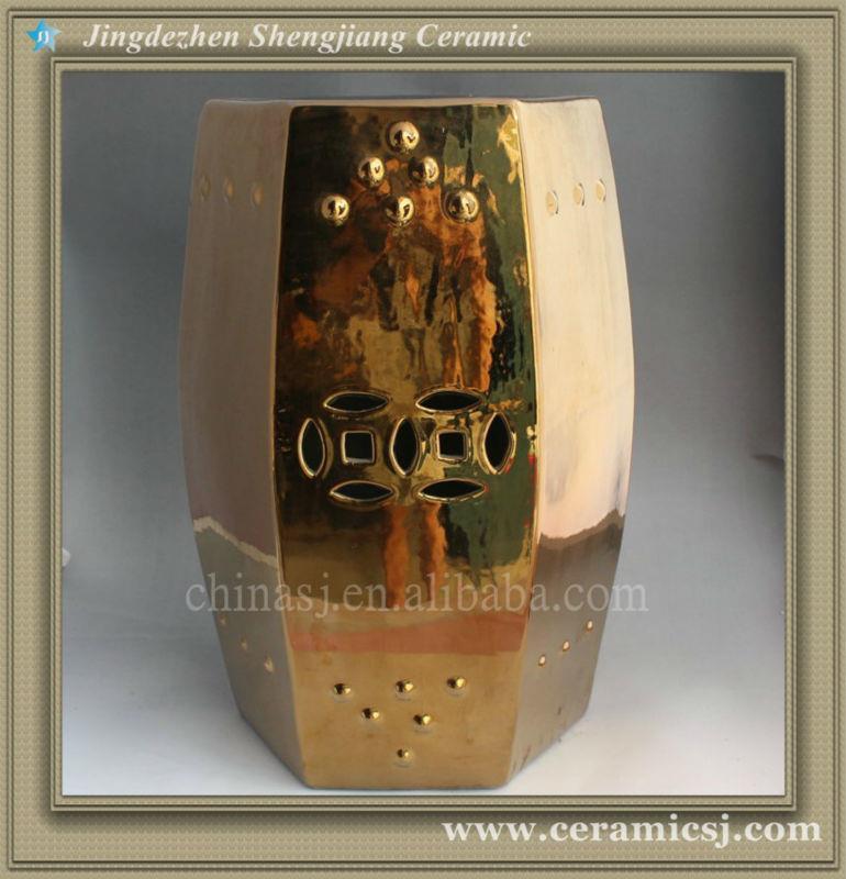 WRYIR57 hexagon golden Ceramic Garden Stool