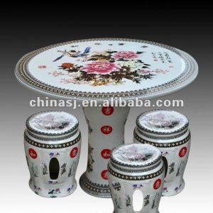 beautiful colored peony ceramic garden stool table set RYAY251