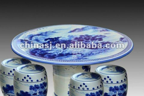 antique blue and white ceramic garden stool table set RYAY257