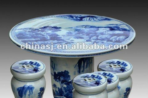 antique blue and white ceramic garden stool table set RYAY258