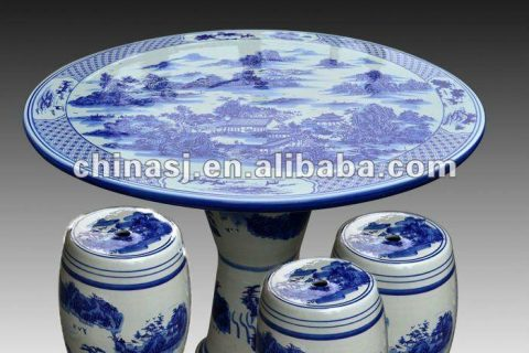 antique blue and white ceramic garden stool table set RYAY260