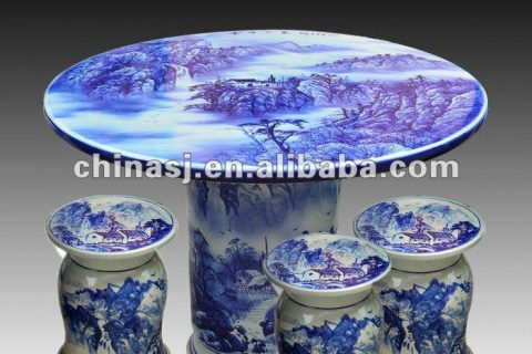 antique blue and white ceramic garden stool table set RYAY261