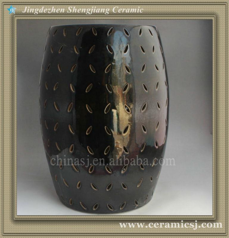 Modern Black Lattice Ceramic Garden Stool WRYNQ22