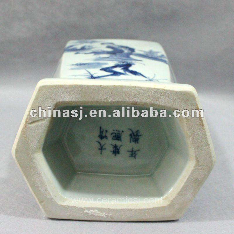 Blue and white hexagon porcelain jar RYUK03